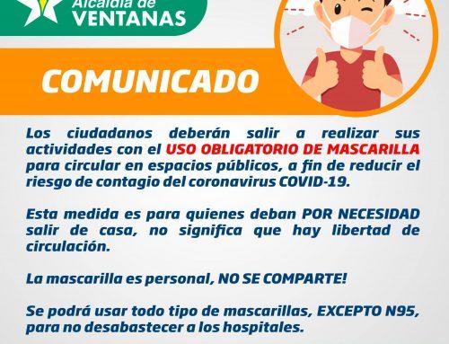#COMUNICADO – USO OBLIGATORIO DE MASCARILLA
